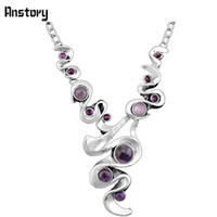 Wholesale vintage amethyst stone necklace resale online - Fashion Jewelry Necklace Casecade Pendant Natural Stone Amethysts Necklace For Women Vintage Antique Silver Plated Wedding Party Gift N104