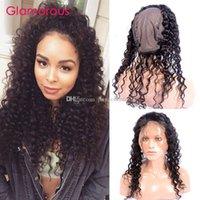 saçlı ön kapak toptan satış-Glamorous Brezilyalı Derin Dalga Kıvırcık Saç Parça Doğal Renk Tam Dantel Frontal 360 Kapatma Perulu Hint Malezya Saç 360 Frontal