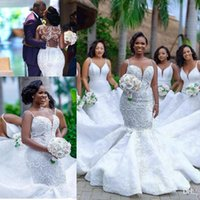 Wholesale organza spaghetti strap wedding dress for sale - Group buy 2019 Luxury African Lace Mermaid Wedding Dresses Spaghetti Straps Applique Beaded Sweep Train Wedding Dress Bridal Gowns Plus Size BC2025