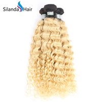 16 paket insan saçı toptan satış-Silanda Saç Iki Ton # T 1B / 613 Derin Dalga Saç Atkı Brezilyalı Remy İnsan Saç Dokuma Paketler Paketleri başına 3 adet Ücretsiz Kargo