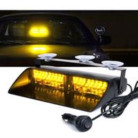 Wholesale 12v led amber dash light resale online - 16 LED High Intensity LED Law Enforcement Emergency Hazard Warning Strobe Lights For Interior Roof Dash Windshield With Suction Cups