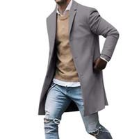 manga de la zanja al por mayor-2019 Nueva Primavera Otoño gabardina hombre Botón Manga Larga Ropa de fitness Moda Streetwear hombres abrigo largo chaqueta larga hombr