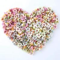 ingrosso diy scrapbook regali-50pcs fiore artificiale mini testa di fiore margherita testa festa di nozze decorazione della casa fai da te corona scrapbook confezione regalo artigianato
