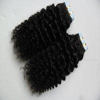 extensiones de cabello de trama de piel ombre al por mayor-40 unids piel trama cinta extensiones de cabello afro rizado rizado 100 g cinta humana en rizado rizado extensiones de cabello humano