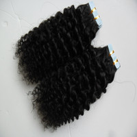 Wholesale brazilian afro mix hair for sale - Group buy 40pcs skin weft tape hair extensions afro kinky curly g Human Tape in kinky curly human hair extensions