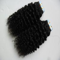ingrosso curly human hair weft-Estensioni dei capelli del nastro di trama della pelle di 40pcs afro riccio crespo 100g nastro umano in estensioni ricce crespi dei capelli umani