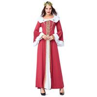 reina medieval trajes de mujer al por mayor-Mujeres Sexy Halloween Carnaval Navidad Traje Vintage Corte Traje Medieval Reina Vestido Emperatriz Cosplay Disfraz Juego Uniforme
