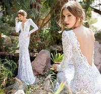 Wholesale long sleeve deep back wedding dress resale online - Best Selling New Full Lace Bridal Dress Deep V Neck Long Sleeve Sexy Open Back Floor Length Sheath Wedding Dress
