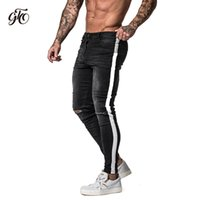 7cbde32b975d Gingtto Skinny Jeans For Men Tape Side Distressed Jeans For Men Faded Black  Big Size Super Spray on Dropshipping Supply zm42