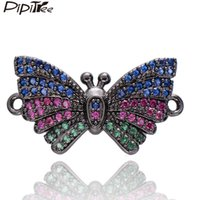 браслеты из австрийских кристаллов оптовых-Pipitree  Multi Austrian Crystal Butterfly Charms fit Bracelet Necklace Copper DIY Accessories Charms for Jewelry Making
