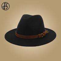 geniş ağızlı panama şapkası toptan satış-FS Erkek Şapka Fedoras Yün Deri Şerit Ile Beyefendi Zarif Bayanlar Kış Sonbahar Geniş Ağız Caz Panama Bowler Şapka Kap