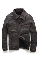 primeiro jaquetas de couro da motocicleta venda por atacado-2019 homens de lapela pescoço jaquetas de couro com ykk zipper primeira vaca genuína jaquetas de couro do vintage ternos de Motocicleta