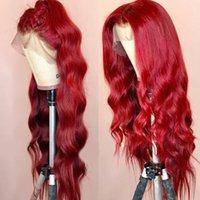 rotes, gewelltes brasilianisches haar großhandel-Wellenförmige farbige Lace Front Echthaar Perücken PrePlucked Full Frontal Red Remy Brasilianische Perücke für schwarze Frauen