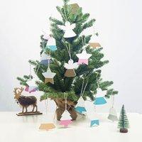 ingrosso ornamento angelo d'oro-4 pezzi / set Oro rosa in legno Angel Star Bell Ornamento di Natale Decorazioni per alberi di Natale Ciondolo Decorazioni per feste di Natale per Capodanno a casa