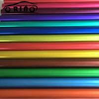 ingrosso vinile arancione rosso-Matte Metallic Satin Chrome Vinile grigio rosso blu verde argento arancione viola oro Car Wrap Sticker Film Bubble Free 5ft X 65ft