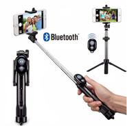 Tripod Monopod Selfie Stick Bluetooth With Button Pau De Palo selfie stick for iphone 6 7 8 plus Android stick (Retail)