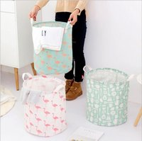 Wholesale folding storage barrel resale online - Storage Basket Storage Bag Foldable Laundry Styles Flamingo Bear Printed Clothes Home Sundries Storage Barrel Kids Toys Organizer YYSY195