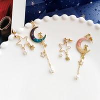 güzel delici toptan satış-2019 Güzel Tatlı Yıldız Ay Küpe Piercing Olmadan Kore Tarzı Vahşi Moda Klip Kulaklar Üzerinde Klip Olmayan Deldi Delik