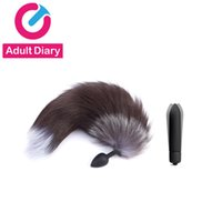 Wholesale anal plug tail online - Adult Vibrator Silicone Anal Plug Fox Tail Sex Toys For Men Woman Vibrating Bullet Butt Plug Erotic BDSM Products