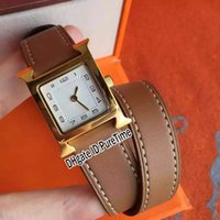 Wholesale bezel rectangle for sale - Group buy New W038178WW0 K Yellow Gold Bezel Silver Dial Swiss Quartz Womens Watch Ladies Watches Brown Leather White Line With Original Box H18a1