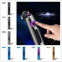 cajas de regalo cilíndricas al por mayor-2019 Más nuevo Cilíndrico USB Metal Encendedor electrónico Fumador de cigarrillos recargable doble arco encendedores 10 tipos con caja de regalo Pantalla de potencia