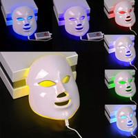 ledli maske yüzleri toptan satış-7 Renk Işık Foton LED Yüz Maskesi Elektrikli Yüz Cilt Bakımı Gençleştirme Terapi Anti-aging Cilt Sıkın Araçları RRA1226