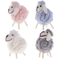 me senti bonito venda por atacado-Lã de madeira bonito Felt Ornament Xmas Detalhes no Sheep Modelo estatueta de madeira Início Tabela Crianças Crianças boneca de brinquedo decorações do partido