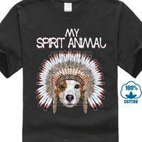ingrosso prese per animali-Divertente simpatico Jack Russell Dog My Spirit Animal T Shirt Estate Nuova stampa Uomo Cotone Moda Estate 2017 Top 100% cotone