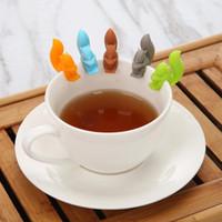 eichhörnchen tasche groihandel-Silikon-Tee-Eichhörnchen Gerät Teebeutel Hanging Schnecke-Becher-Schale Clip Label-Party New Year Lieferungen EEA582