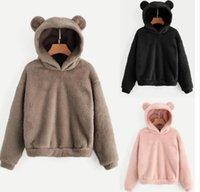 hoodies preppy achat en gros de-Preppy Belles Oreilles avec des ours en peluche pleine Hoodie Sweat-shirt Pull-overs Automne Femmes Campus Sweat Casual Sudadera