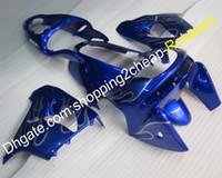 partes del cuerpo kawasaki zx9r al por mayor-Piezas de carenados ZX-9R para Kawasaki ZX-9R 98-99 ZX 9R 1998 1999 ZX9R ZX9R Kit de carenado ABS de cuerpo azul con llama plateada