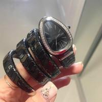 relojes de memoria al por mayor-las mujeres de alta calidad reloj de lujo banda de acero banda de memoria movimiento de cuarzo caso de cerámica pulsera ajustable incrustaciones de diamantes de lujo