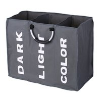 bolsa de lavado de malla de poliéster al por mayor-3-sección grande plegable Oxford lavandería Negro cesta ropa sucia bolsa de almacenamiento organizador con asas de aluminio C19041701