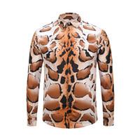 camisas de vestido dos homens da cópia do leopardo venda por atacado-2019 Marca de design de luxo Magro camisa dos homens Leopard impressão de grãos de manga longa casual harajuku mens camisas de vestido Dos Homens Medusa tamanho asiático