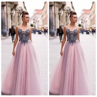 Wholesale ruched empire waist prom dresses resale online - Sheer Beaded Top A Line Tulle Prom Dresses Empire Waist Formal Special Occasion Party Gowns Customized Vestidos De Fiesta European
