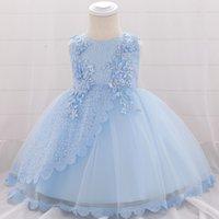 yeni doğmuş elbiseler toptan satış-Yeni Doğan Örgü Çiçek Boncuklu Nakış Bebek Kız Elbise Çiçek Parti Elbise Doğum Günü Vaftiz Prenses Kız Çocuk Elbise L1902xz Y19061101