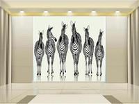 zebra weben großhandel-Benutzerdefinierte Größe 3d Fototapete Wohnzimmer Bett Zimmer Wandbild Cartoon sechs Zebra 3d Bild Sofa TV Hintergrund Tapete Vlies Aufkleber