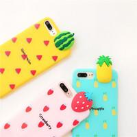 ingrosso caso di frutta 3d di iphone-Cassa del telefono di DIY dei frutti 3D del fumetto per il iPhone XS X 6 6s 6 7 8 più banana Ananas Frutta TPU copertura posteriore del telefono regalo