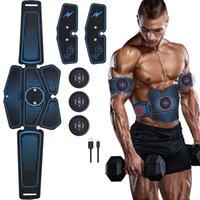 ejercicio para los abdominales al por mayor-Estimulador ABS Toner muscular Cinturón de tonificación abdominal Entrenador de entrenamientos EMS Training Fitness Equipment for Abdomen / Arm / Leg Training Carga USB