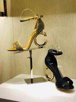 ingrosso produzione di cinture di cuoio-2019Hot! Sandali delle donne di stile classico europeo di lusso Pantofole di moda Sandalo sexy Al tacco alfabetico in pelle Cucitura e fabbricazione di fibbie per cinture