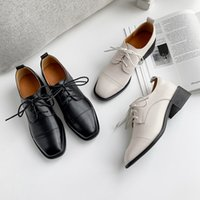 style britannique femme chaussure casual achat en gros de-Femmes Flats New British style Oxford Chaussures Vintage Women Casual Lace Up Pu Flats Chaussures Femmes en cuir véritable Mujer dames Chaussures