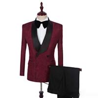 ingrosso immagini mens abiti da sposa-100% immagine reale abiti uomo due pezzi scialle nero smoking smoking sposo personalizzato abiti da sposa (giacca + pantaloni)