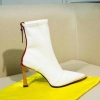 weiße high heel stiefel großhandel-Echte Leder-Booties High Heel Weiß Damen Booties Fashion Boot Winterstiefel Großhandel New Boot 2020