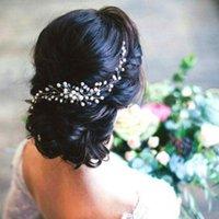 hochzeit kopfstücke luxus silber großhandel-Hochzeit Braut Brautjungfer Silber handgemachte Strass Perle Hairband Stirnband Luxus Haarschmuck Headpiece Fascinators