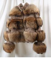 volle pelzmäntel frau groihandel-Gute Qualität Winter warm Damen Jacken Voll Pelt Thick Damen Stehkragen Langarm Natur Wirkliche Waschbär-Pelz-Mäntel