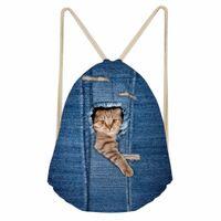 venta de mochilas lindas al por mayor-Noisydesigns Hot Sale Denim Pocket Cat Mochilas Mujeres lindas Viajes Mini mochila Bolsa de playa Bolsas Mochila para adolescentes