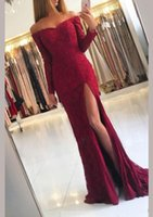 Wholesale purple prom dresses online - 2019 New Design Full Lace Mermaid Prom Dresses Off Shoulder Long Sleeves Front Split Sweep Train Plus Size Custom Evening Party Pageant Gown