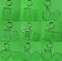 Wholesale insert photo key chains resale online - DIY Acrylic Blank Photo Keychains Shaped Clear Key Chains Insert Photo Plastic Keyrings