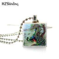 Wholesale beautiful elegant pendants resale online - Hot Selling Elegant Jewelry Beautiful Peacock Paintings Scrabble Art Pendant Hand Craft Wooden Scrabble Tiles Necklace Gifts