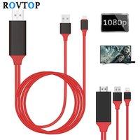 iphone kabelstifte großhandel-Rovtop 8 Pin Micro USB C Pro Hdmi Hdtv AV-Kabel-Adapter für iPhone 5 5 s 6 7 Plus Ipad Lade USB Hdmi Adapter-Kabel Z2 T190703